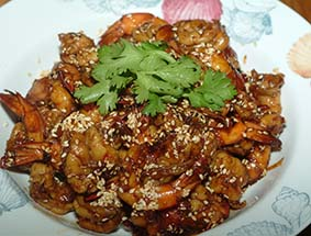 hot spicy honey prawns