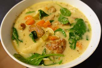 sausage and tortellini creamy soup