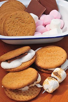 s'mores camping treats camp fire cooking camping chocolate marshmallow biscuits