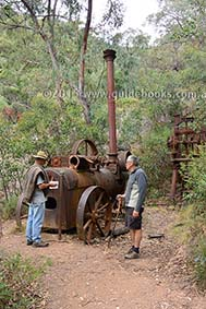 Old steam engine and stamper at New Good Hope goldmine